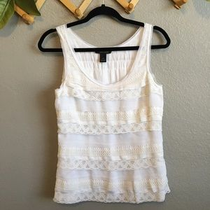White House Black Market White Tiered Lace Tank